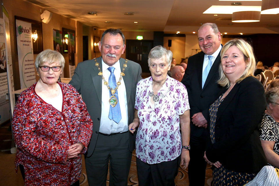 Maolíosa McHugh, Mayor of Derry City and Strabane District Council with Beechway House tenants Philomena Cassidy and Nellie McElhinney; Eamonn Donaghy, Chief Executive Age Sector Platform and Ellen Hall Apex Supported Housing Manager