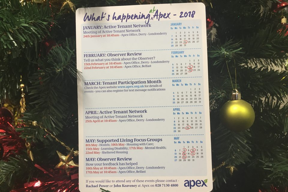 Apex's new Tenant Participation Calendar.