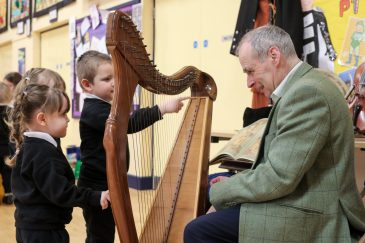 Pupils learning about the harp.
