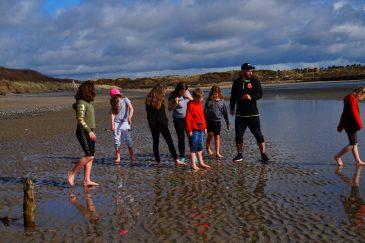 Young people enjoying the beach walk.
