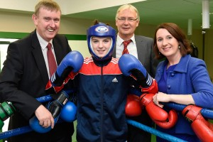 Social Development Minister, Mervyn Storey with junior boxer Kristina O'Hare