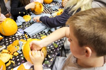 Getting stuck in to the pumpkin carving!