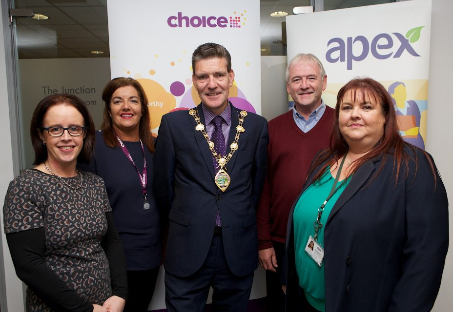 Mayor John Boyle at the Apex Older Persons Day held in Holywell Trust, with, from left, Anne McCorkell, Apex, Clare Darby, Choice Housing Association, William Wilson, tenants involvement chairman, and on right,  and Martina Gamble Apex