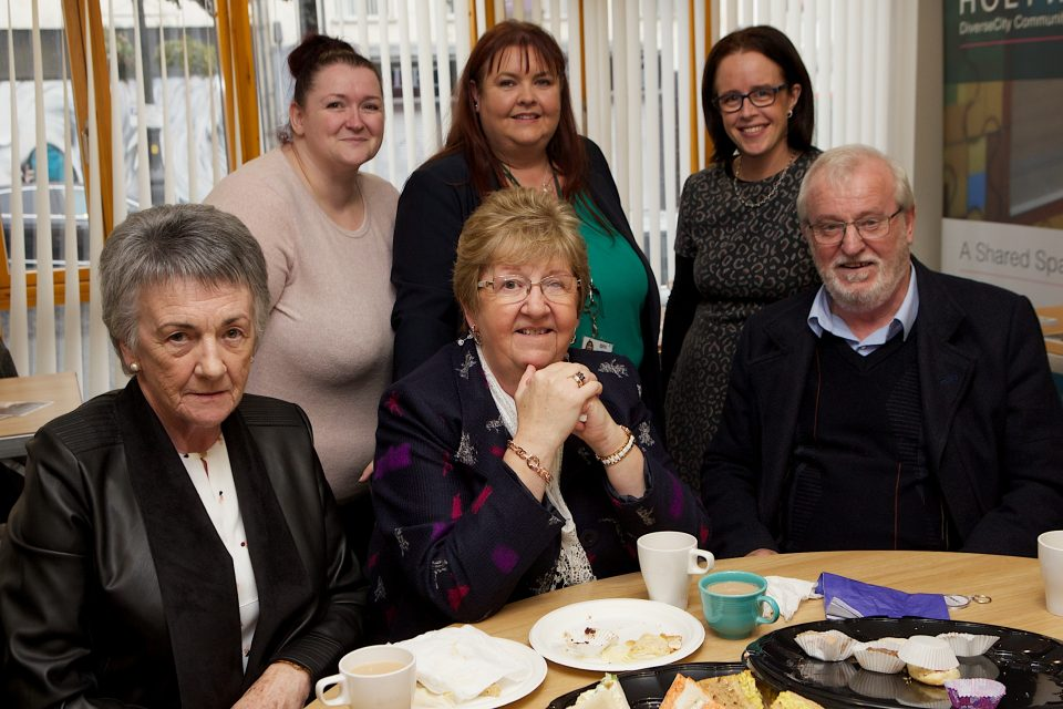 Seated, from left, at the Apex Older Persons Day held in Holywell Trust, are Mary McGarvey, Chris Kelly and Eamon Cassidy. Standing, from left, are Bronagh McGilloway, NI v Arthritis, Martina Gamble and Anne McCorkell, Apex.