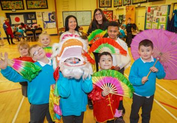 Pupils from Cranmore Integrated PS enjoying One World Day