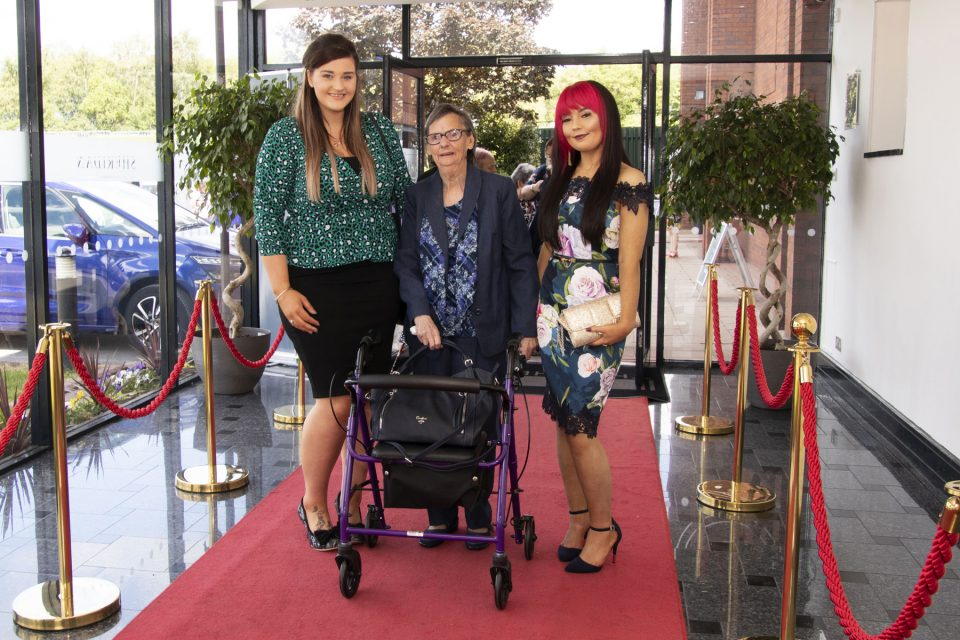 Deborah Morrison, Lily Handy (resident) and Roisin Reid from Brookhill House, Coleraine at the Elderly Accommodation Awards in Manchester