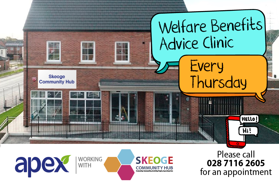 Apex welfare advice clinic at Skeoge Community Hub in Derry~Londonderry