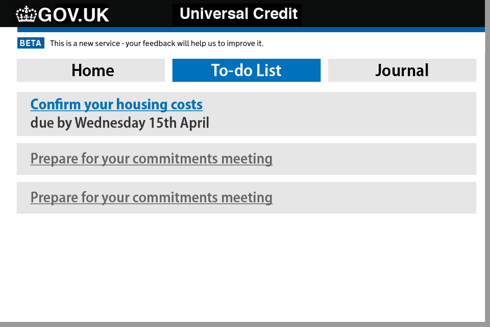 How to update your housing costs on your UC account - step 1
