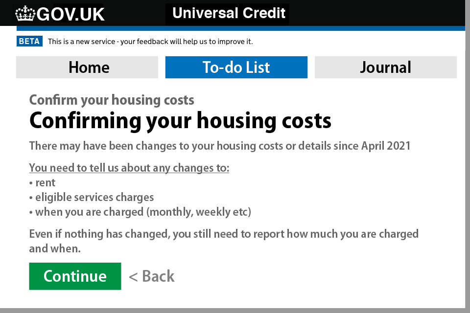 How to update your housing costs on your UC account - Step 2