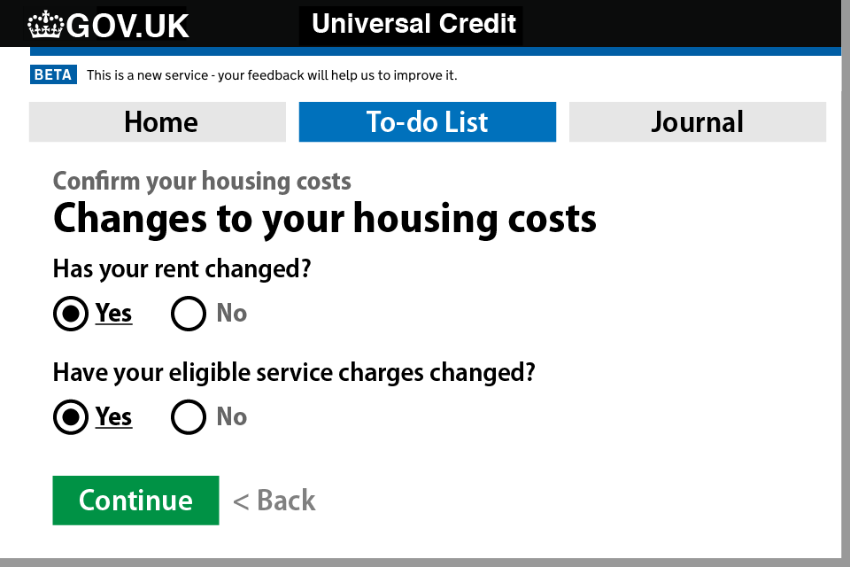 How to update your housing costs on your UC account - Step 3