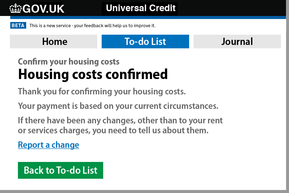 How to update your housing costs on your UC account - Step 4