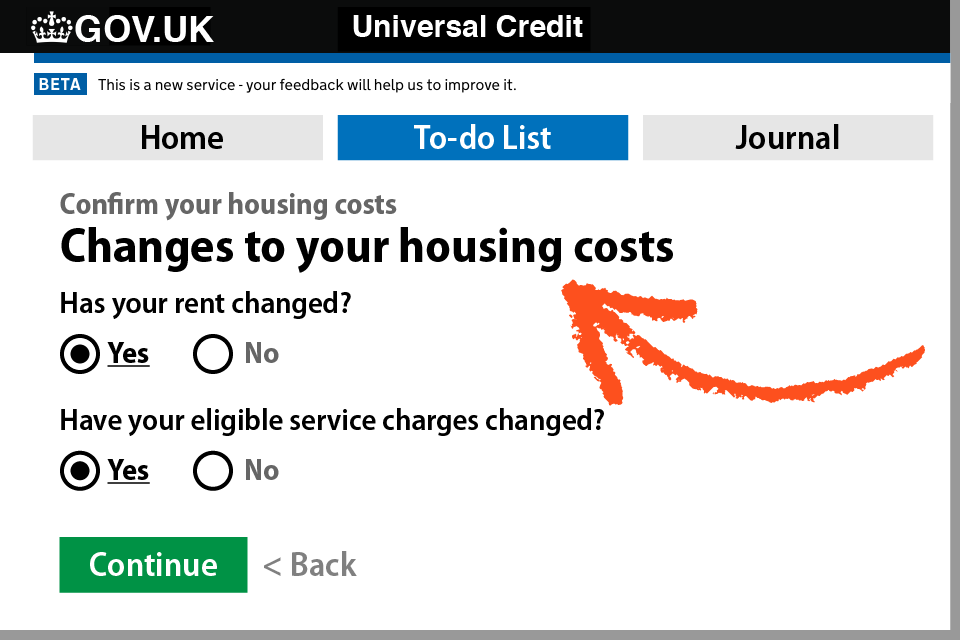 How to update your housing costs on your UC account