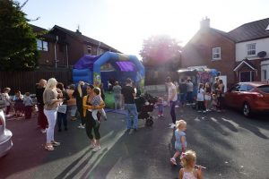 Ballynafoy Close tenants and families enjoying the community fun night